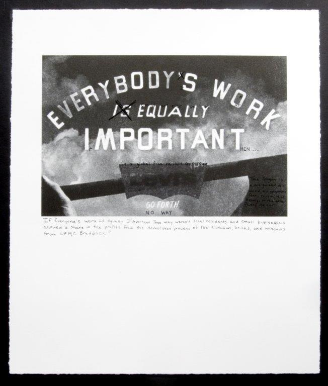 img_LaToya Ruby Frazier, *Jenny Holzer's Truism*, *Campaign for Braddock Hospital (Save Our Community Hospital)*, 2011, Portfolio mit 12 Prints (Fotolithographien und Siebdrucke ), Courtesy LaToya Ruby Frazier / Michel Rein, Paris/Brussels / KADIST Collection, Paris